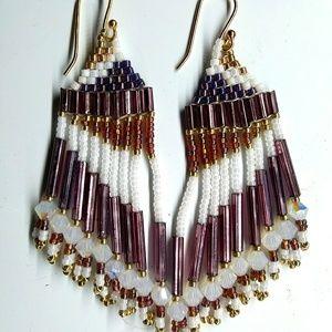 Handmade Purple Gold Swarovski Beaded Earrings